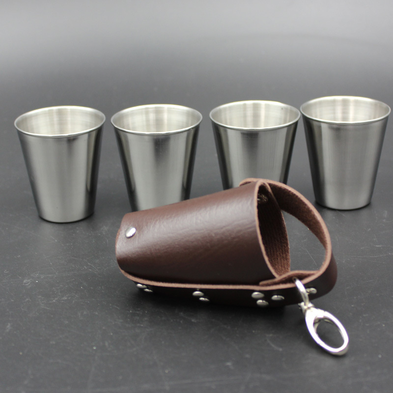 4 Pcs set Polished 70ml Mini Stainless Steel liqueur glass Shot Glass Cups Wine Beer Whiskey Cup  Leather Cover Bag