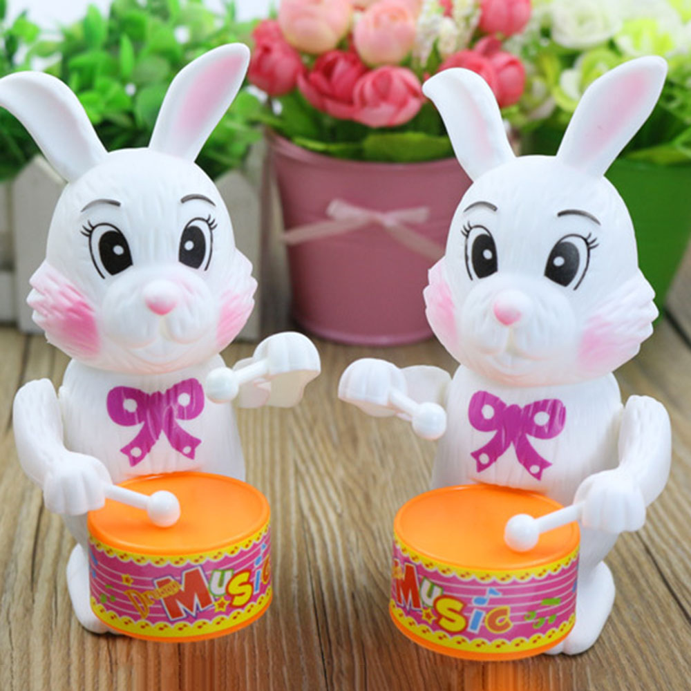 Children Funny Educational Plastic Kid To Play Game Baby Gift Cute Toy Musical Instrument Rabbit Drumming Clockwork Wind-Up Toys