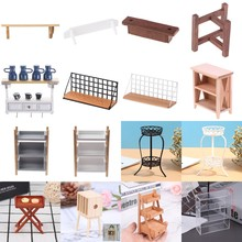 Book Shelves Dollhouse-Accessories Pretend-Toy Miniature Vegetable Wooden Kids 1:12 Fruit-Rack