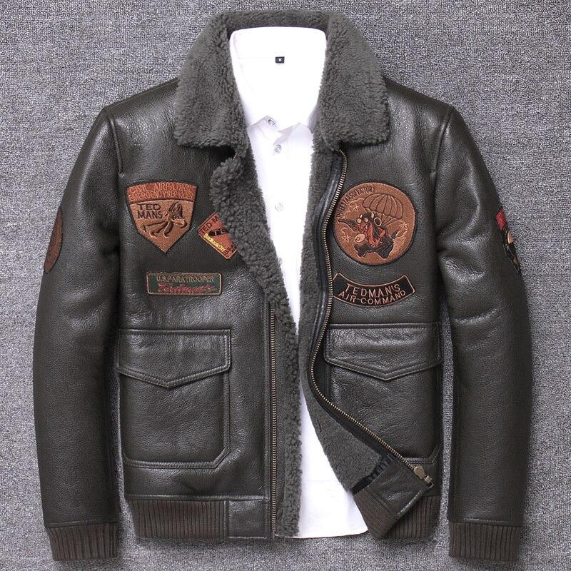 Real Fur Coat Winter Men Clothes 2020 100% Genuine Leather Jacket Sheep Shearling Bomber Jacket Sheepskin Coat Hiver 799
