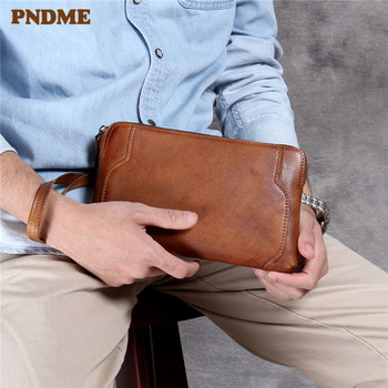 PNDME simple vintage genuine leather men's clutch bag high-quality luxury soft first layer cowhide daily ladies phone wallet niuboa top quality cowhide first layer knapsack male computer preppy school bag vintage genuine leather rucksack men backpack