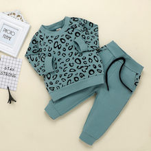 Infant Outfits Baby Mädchen Jungen Leopard Print T-shirt Pullover Mantel Tops Hosen Outfits Kinder Langarm Kleidung Kinder Kleidung