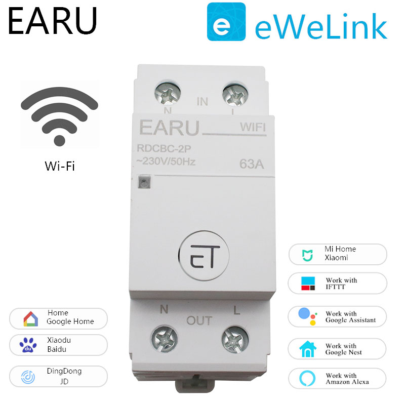 2P Din Rail WIFI Circuit Breaker Smart Timer Switch Relay Remote Control By EWeLink APP Smart Home Compatiable With Alexa Google