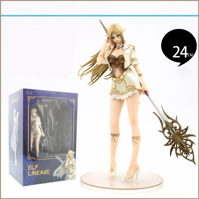 24CM Sword Can Be Replaced Anime Figure Lineage Heaven 2 Elf Female Mage PVC Action Figure Collection Model Toys
