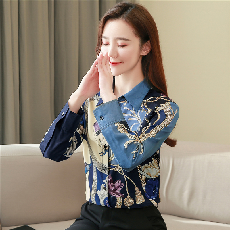 High Quality Clothes Vintage Long Sleeve Silk Blouse Women Spring Fashion 2021 Office Lady Shirt  Loose Plus Size Tops 8425 50 4