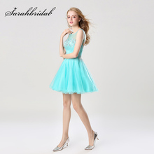 Fashion Girl Lively Mint Graduation Dress Short Shining Sequin Homecoming Dresses Sheer Neck Open Back Cute Party Gown AJ032