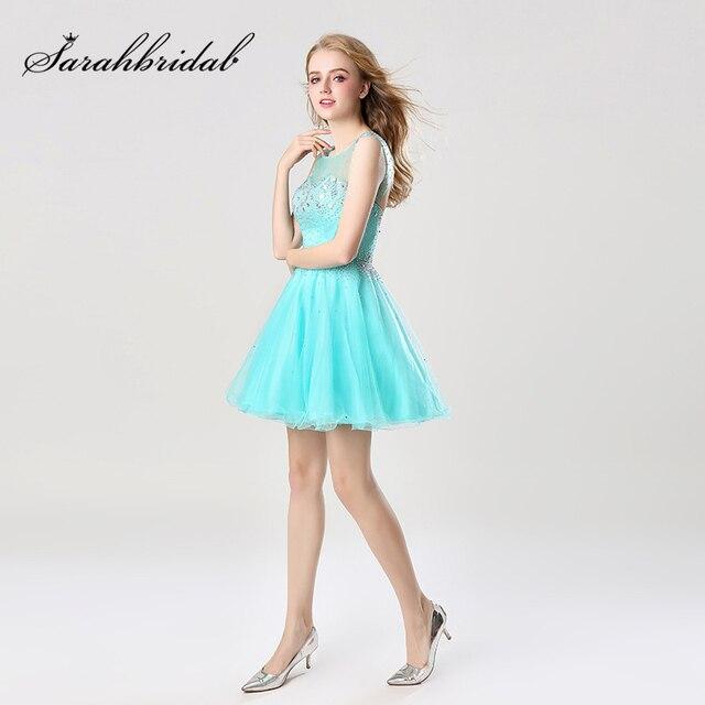 Vestido corto de graduación con lentejuelas brillantes para chica a la moda vestido de fiesta con espalda abierta y cuello transparente AJ032