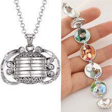 New Magic 4 Photo Pendant Necklace Memory Floating Locket Necklace Angel Wings DIY Flash Album Box Necklaces Lockets Pendants(China)