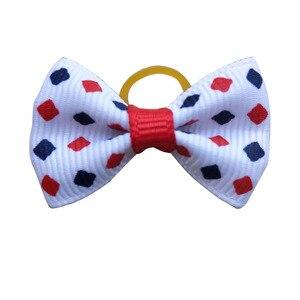 Image 3 - 100 個犬弓赤白青ペット犬ヘアアクセサリー手作り独立記念日ペット犬弓ゴムバンドペットショップ