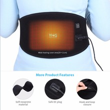 YHG USB Charging Electric Heating Hot Therapy Abdomen Waist Support Belt Wrap Orthopedic Brace Back Heating Pad Pain Relief Band