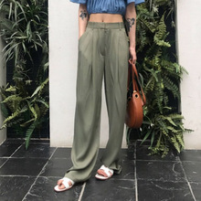 Women Satin Pants Green Belted Fashion High Waist Wide Leg Trousers Female Summer Loose Palazzo Pants Office Wear buttoned pocket belted palazzo jumpsuit
