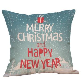 Funda de almohadas de Navidad decorativo de Navidad estampado de lino sofá café funda de cojín decoración para el hogar Poduszki Dekoracyjne Dropshipping #