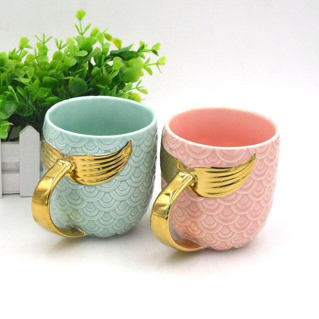 Golden Mermaid Tail mug coffee mug Ceramic Mug with Handle Creative Tea Coffee Milk Personalized Mug Fishtail Cup for girl womam 1