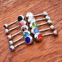 10 Pcs Crystal Gem Body Jewelry Dangle Ball Button Surgical Steel Barbell Belly Navel Ring Bar Body Piercing Jewelry Belly Rings