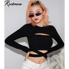 Rockmore Gothic Bodycon Criss Cross Bandage T-shirt Women Long Sleeve Hollow Out T Shirts Femme Streetwear Crop Tops Tees Autumn