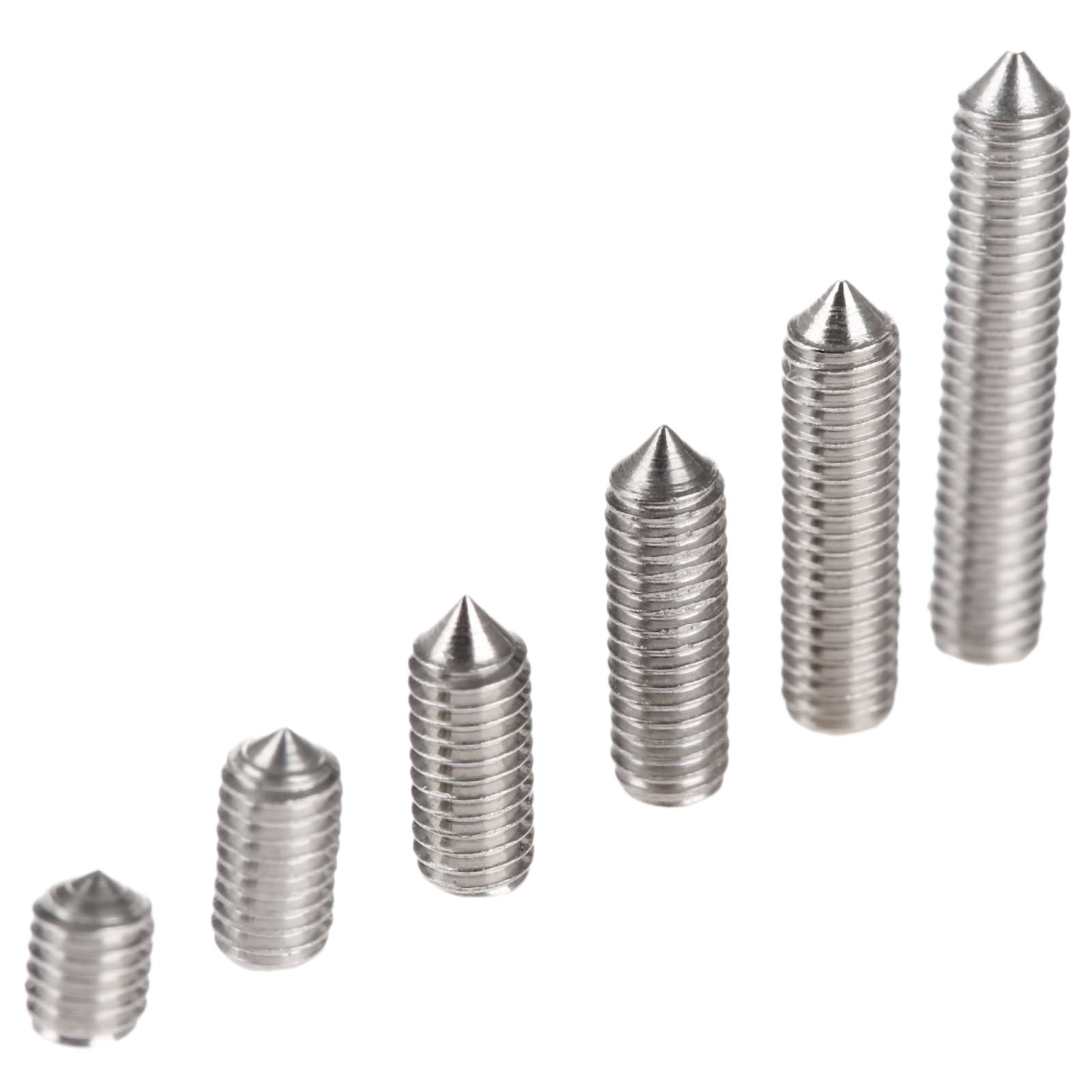 50Pcs M3 Stainless Steel Allen Head Hex Socket Grub Screw Bolts <font><b>Nuts</b></font> Fasteners with Cone Point M3 Screws M3 x4/6/8/10/<font><b>12</b></font>/16mm image
