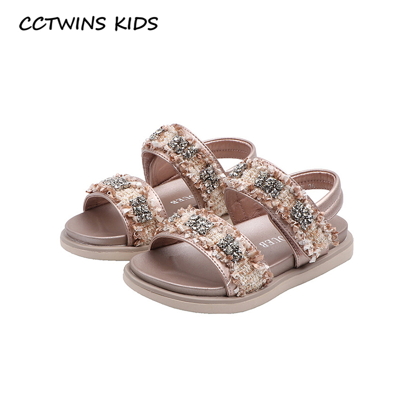 CCTWINS Kids Shoes 2020 Summer Toddlers Brand Soft Shoes Baby Fashion Rhinestone Sandals Girls Pink Princess Flat PS915
