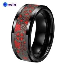 8 мм черное обручальное кольцо из вольфрама с черным механическим