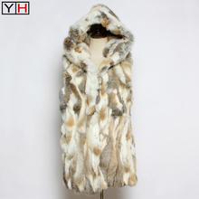 Jacket Vest Hooded Rabbit-Fur Long-Style Fashion Women Lady 100%Natural Authentic