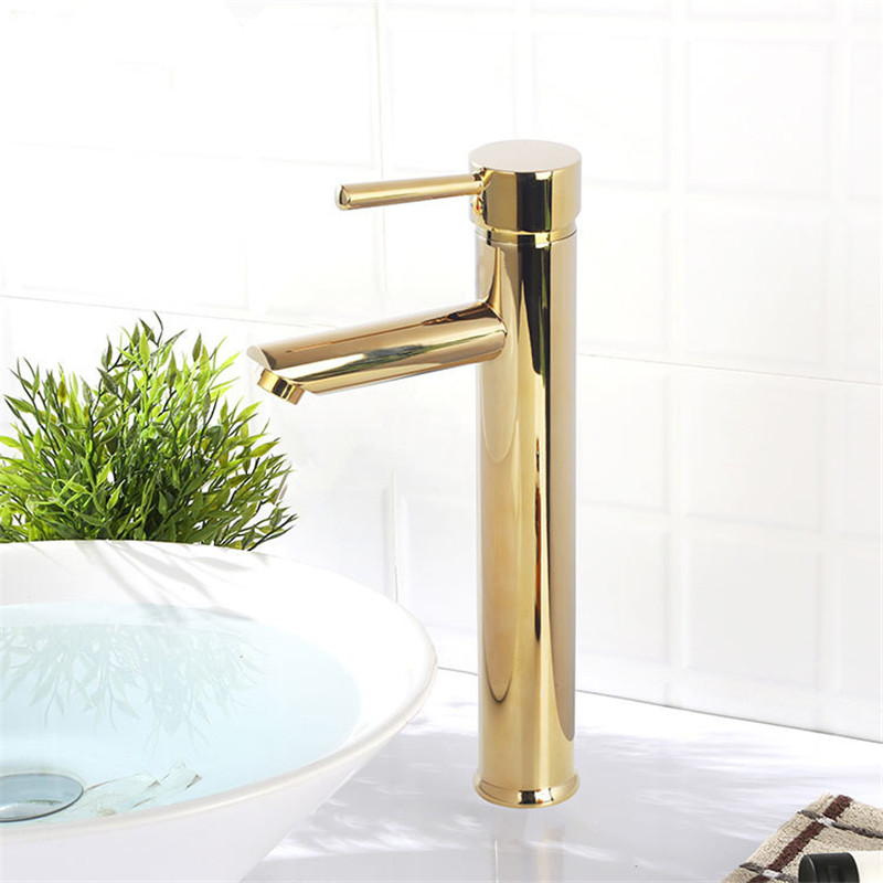 Bathroom Faucet Solid Brass Bathroom Basin Faucet Cold And Hot Water Mixer Sink Tap Single Handle Deck Mounted Black/ GoldTap