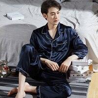 100% Real Silk Pijama for Men Lounge Sleepwear Pyjamas Solid Spring Bedgown Home Clothes Man PJs Hangzhou Pure Silk Pajamas Sets