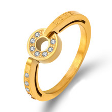 Vintage Crystal Zirconia Love Ring Titanium Stainless Steel Men Rings Gold Color Couple Rings Jewelry Woman Fashion Accessory()