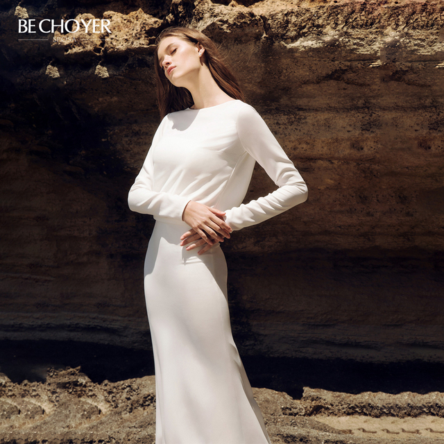 BECHOYER Simple Long Sleeve Wedding Dress 2020 Fresh Backless Mermaid Train H Quality Customized Bride Vestido de Noiva AB35
