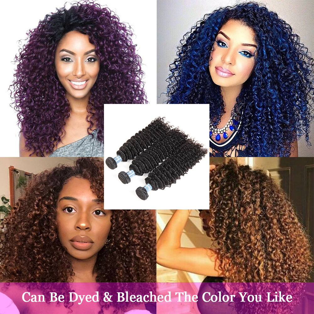 "Kinky Curly Brazilian Hair Weave Bundles Unprocessed Virgin Human Hair Extensions 10""-30"" Natural Color"