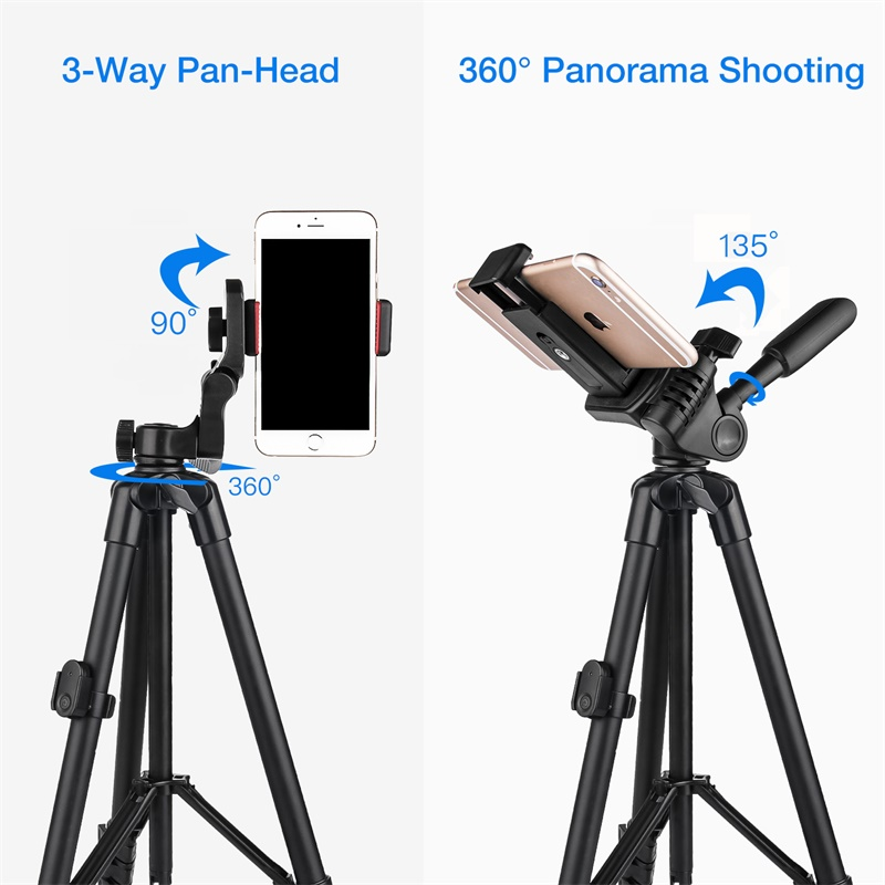 Cell Phone Tripod 55inch Selfie Stick Tripode with Bluetooth Remote Panorama Pan Head Travel Portable Tripod Stand for Mobile 3