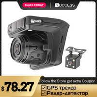 Ruccess Dash Cámara DVR 3 en 1 Detector de Radar con GPS para Rusia Full HD 1080P 1296P Dashcam 2 cámara grabadora de vídeo para coche