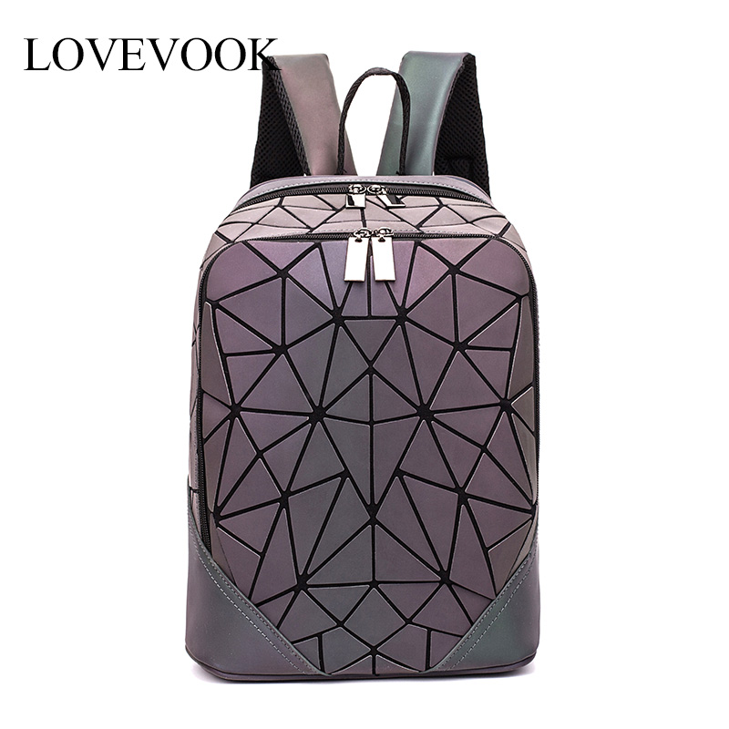 LOVEVOOK Backpack Geometric School-Bags Teenagers Girls Women No for Foldable Holographic-Refretion