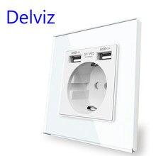 Delviz EU Standard USB Socket, Tempered Crystal Glass Panel, White/Black, 5V 2100mA Double usb, Household 16A Wall Power Outlet