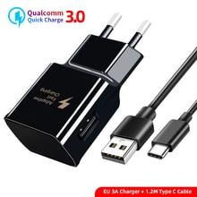 USB кабель для быстрой зарядки типа C EU/US/KU настенный для samsung Galaxy S9 S8 Plus для huawei P20 Pro адаптер для быстрой зарядки USB C кабель