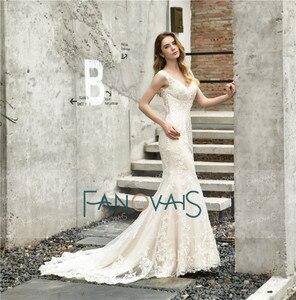 Image 4 - Винтажное свадебное платье Русалка 2019 свадебное платье с V образным вырезом Свадебное платье с открытыми плечами свадебное платье