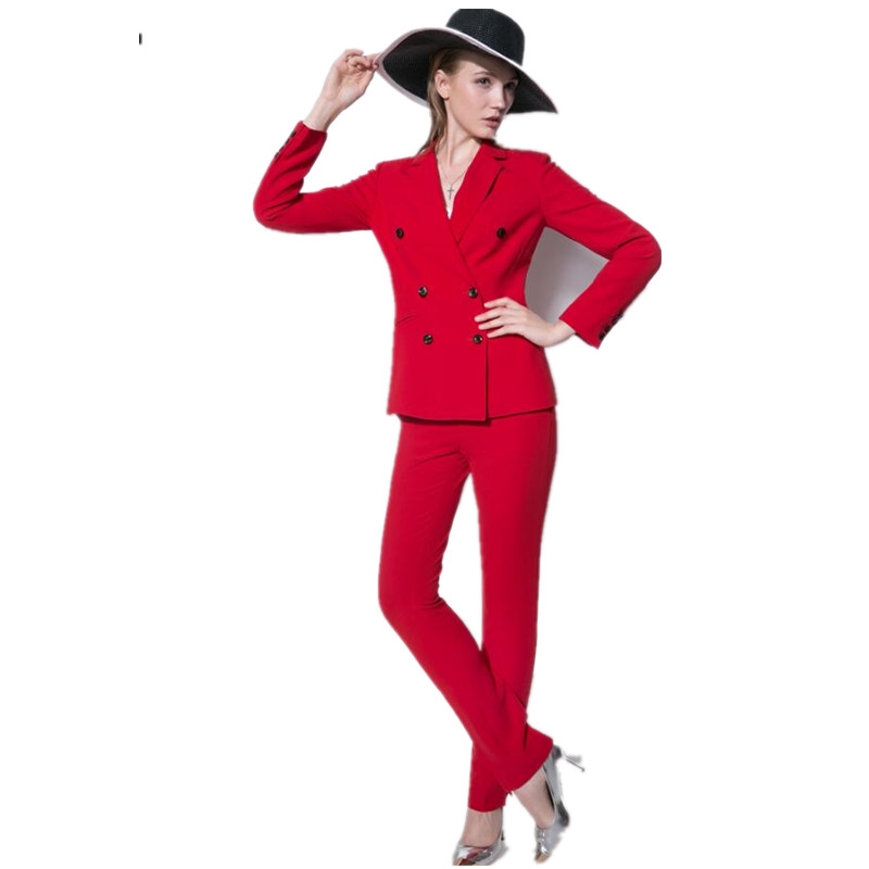 Women Pant Suits Hot Sale The Latest Fashion Business Suits OL Vocational Passion Red Double-breasted Long-sleeved Women Suits