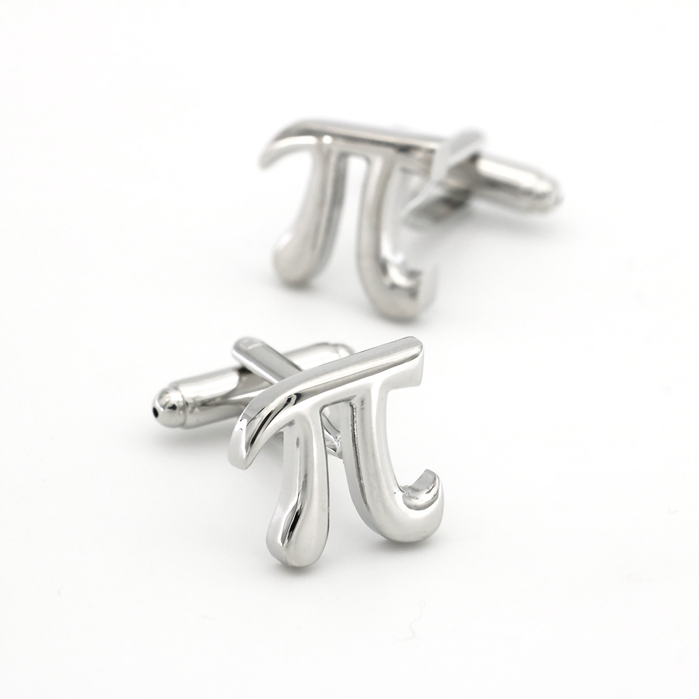 Mathematical Symbols Design Pi Cufflinks Non-rusting Silver Color Cuff Links Wholesale&retail Quality Brass Material