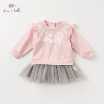 DBZ11396 dave bella autumn baby girl's princess cute floral ruched dress children fashion party dress kids infant lolita clothes image