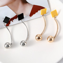 Personality Fashion Square Geometry Long Earrings Retro Female Tassel Jewelry