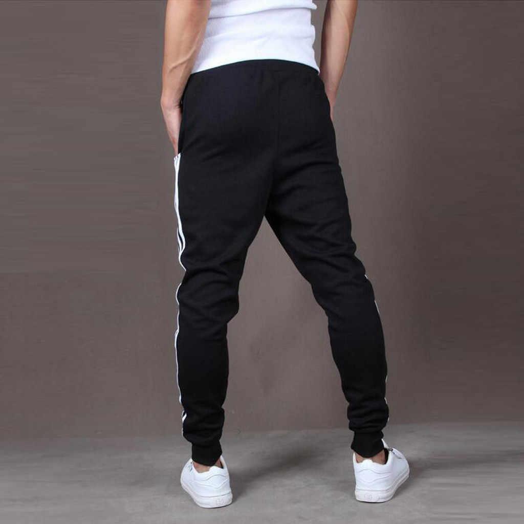 Spodnie męskie moda męskie spodnie dresowe Casual Skinny elastyczne Joggings sportowe paski Baggy spodnie z kieszeniami spodnie pantalones hombre