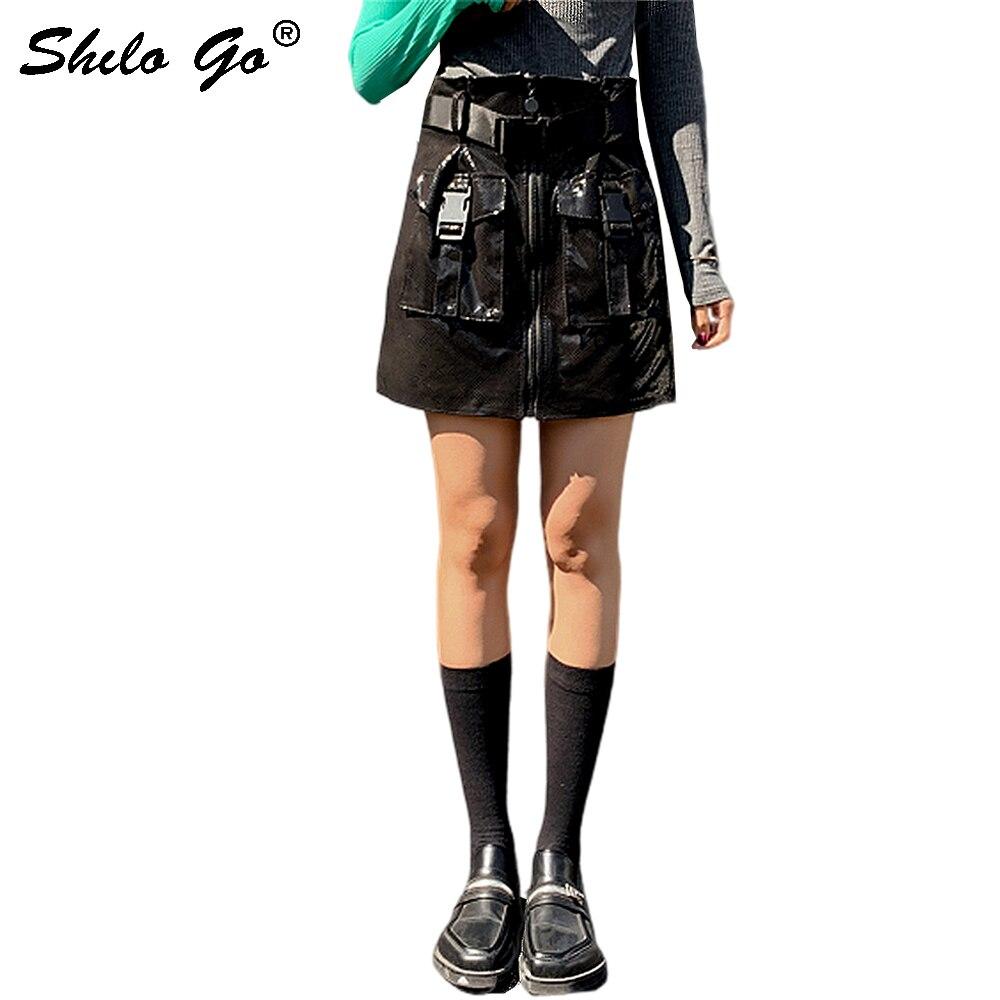 Genuine Leather Skirt Buckle Belted Safari Style Pocket Front Sheepskin A Line Skirts Women Autumn Winter Highstreet Hot Skirt