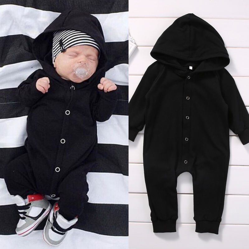 Multitrust Brand Spring Autumn Cotton Newborn Baby Boy Kids Pure Black Long Sleeve Romper Jumpsuit Hooded Clothes Outfits