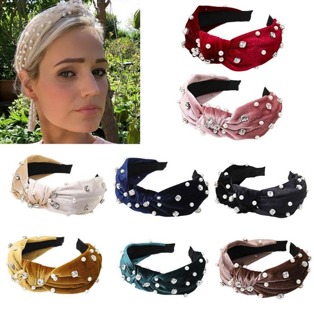 Women's Wide Headband With Rhinestones And Faux Pearl Studs