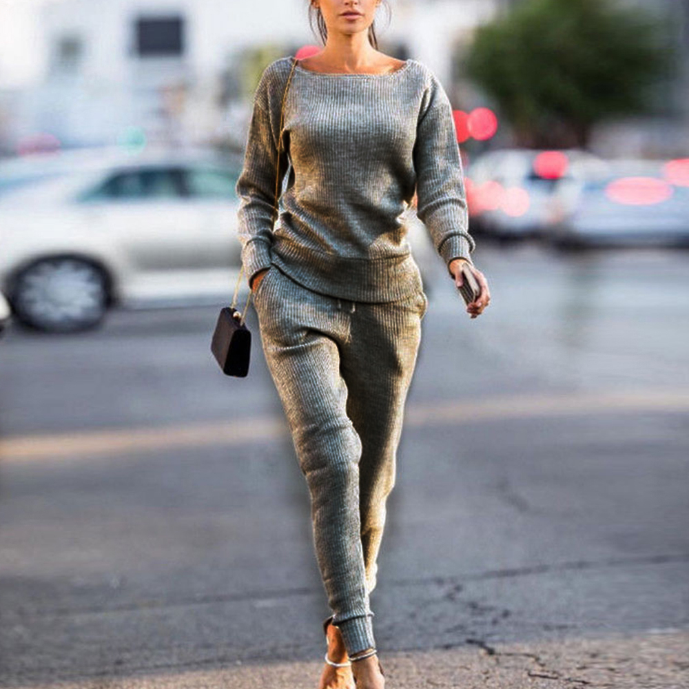 2019 New Spring Autumn Winter Lossky  Slim Women Knitted Suit Casual Track Suits O-neck Long Sleeve Ladies Sports Suits