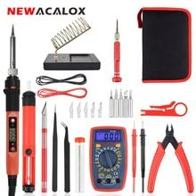 NEWACALOX Herramienta de soldadura Digital, 60W, con pantalla eléctrica EU/US, Kit de pistola para soldar Digital, reparación de temperatura ajustable, multímetro Digital