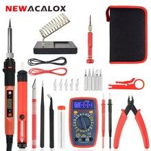 Newacalox 60W Eu/Ons Elektrische Digitale Display Soldeerbout Kit Verstelbare Temperatuur Reparatie Lassen Tool Digitale Multimeter