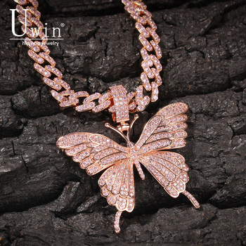 Uwin Iconic Butterfly Pendant 9mm Rose Gold Cuban Chain Cubic Charm Pink Tennis Chain Necklace Men Women Hip Hop Jewelry Gift