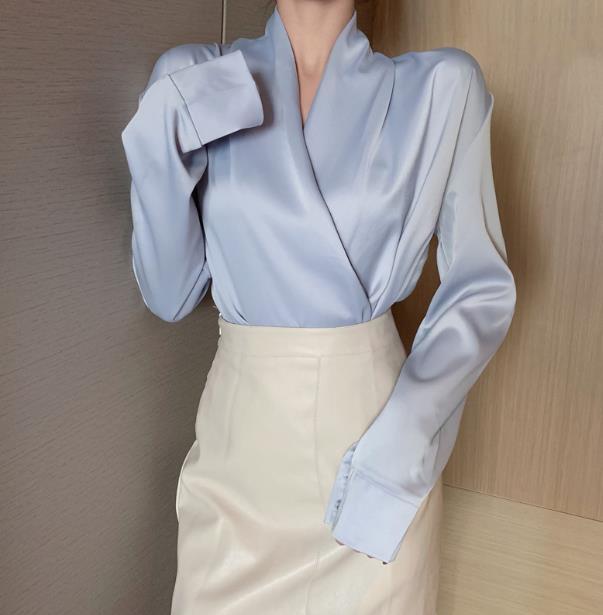 2020 Autumn Long Sleeve Cross V Neck Satin Blouses Tops Women Sexy V Neck Satin Tops Women V Neck Satin Shirts  Tops