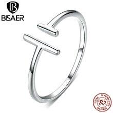 Basit Anel BISAER 925 ayar gümüş geometrik parmak yüzük kadınlar için ayarlanabilir açık boyutu kadın yüzük güzel takı ECR555