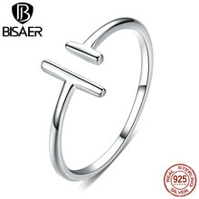 Simple Anel BISAER 925 Sterling Silver Geometric Finger Rings for Women Adjustable Open Size Women Rings Fine Jewelry ECR555