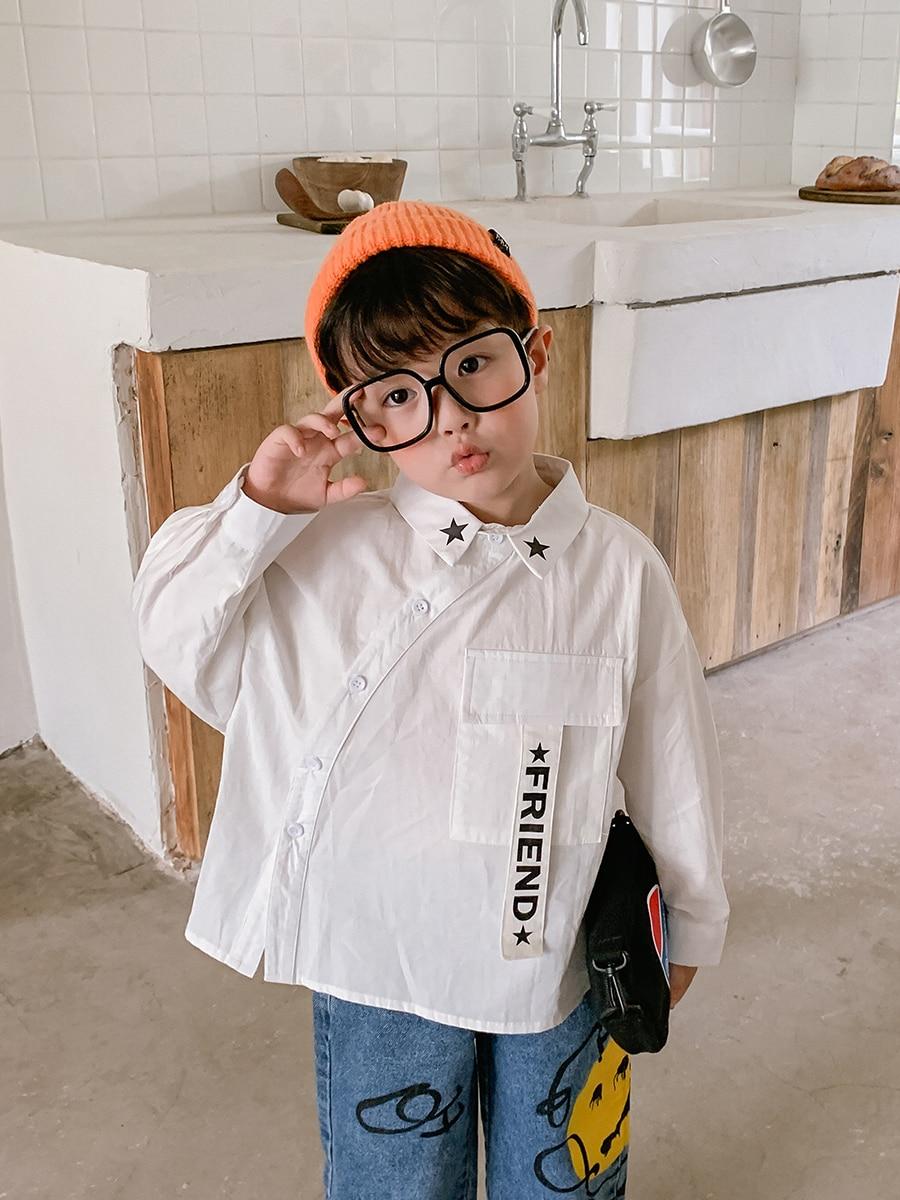 Boy's Cotton Long-Sleeved Shirt Fashion Big Boy Boy's Baby Shirt Children's 2021 New Style Autumn Coat 2